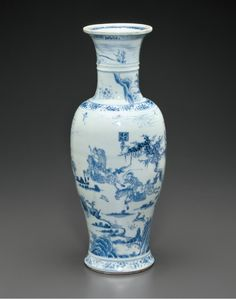 A rare large blue and white vase with hunting scene, Early Kangxi period, circa 1680.