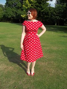 Electric Boogaloo dress - By Hand London Anna dress in red polka dot cotton.