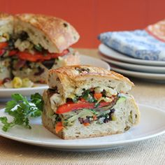 Vegan Muffuletta Sandwich with roasted vegetables