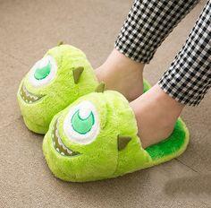 Fluffy Mike Wazowski slippers / Monsters Inc.
