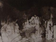 """Ce détail d'un dessin de Victor Hugo représente des formes blanchâtres (roches ou démons) tournées vers l'obscurité. L'une semble tendre son bec ouvert vers le ciel - Lié au poème """"Ô gouffre ! l'âme plonge..."""", du recueil """"Les Contemplations"""", de ce même Victor Hugo."""