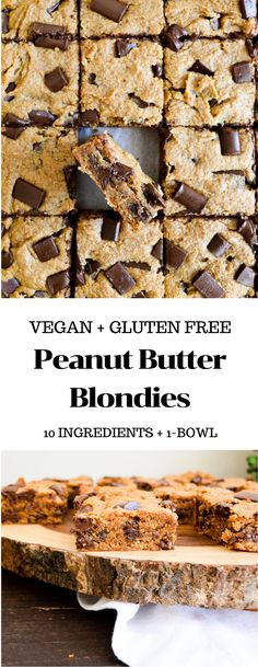 These Gluten Free Peanut Butter Blondies only require 10 staple pantry ingredients and one bowl to make! They are soft chewy full of chocolate chips and a BIG hit of peanut butter flavor. Gluten Free Peanut Butter, Homemade Peanut Butter, Peanut Butter Chips, Healthy Peanut Butter, Peanut Butter Recipes, Gluten Free Chocolate, Tray Bake Recipes, Vegan Dessert Recipes, Delicious Vegan Recipes