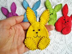 Cute rabbit bunny ornament with loop (or magnets, or on stick, or bookmark) easter decorations, felt ornaments, felt animals, felt rabbit Felt is a very soft, pleasing and environmentally friendly material. Felt ornament look great in any room. This ornament will serve you for a long