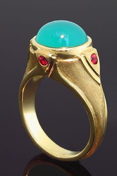 18K Gold, Chrysocolla and Spinel Ring by Athenae Inc ~ x