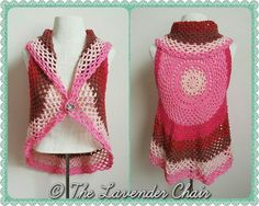 """""""My latest FREE crochet pattern release is this Pocket Full of Posie Vest! this vest is the adult version of the Ring Around the Rosie vest! Its made using one cake od Caron Cakes. This vest is available in size Women's Small, Women's Medium and Women's large! I absolutely love this pattern because it is so quick and easy! The addition of the button is optional so feel Free to leave it off if you want :)."""""""