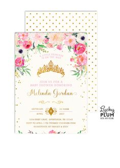 Baby shower invitation pink and gold princess baby shower princess baby shower invitation royal baby shower invitation filmwisefo