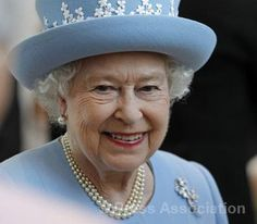 The Queen in Northern Ireland on a two day trip during her Diamond Jubilee ~ June 26, 2012. Her ensemble resembled the look of Wedgewood China.