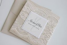 Beautiful Neutral Custom Lace Wedding Invitation in Champagne, Ivory & White
