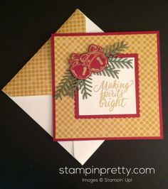 Christmas Magic & Tin of Cards holiday card. Mary Fish, Stampin' Up! Demonstrator. 1000+ StampinUp & SUO card ideas. Read more http://stampinpretty.com/2016/10/a-christmas-magic-card-that-rings-a-bell.html