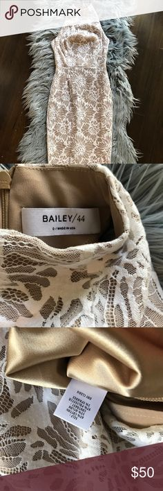 Bailey 44 Mock neck midi NWOT Beautiful lace overlay midi dress size 0. Love this dress so much I popped off the tags but it's so tight I couldn't make it work. I'm a 2 with 32E chest Bailey 44 Dresses Midi