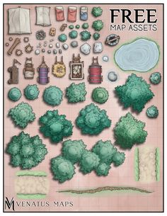 [OC]We hit a goal on Patreon so here's a free pack of 85 map assets! Dungeon Tiles, Dungeon Maps, Dungeons And Dragons Homebrew, D&d Dungeons And Dragons, Fantasy Map Making, Forest Map, Pathfinder Maps, Map Symbols, Rpg Map