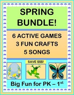 "30 PAGES of INDOOR FUN!  Includes SIX ACTIVE INDOOR GAMES for your Pre-K - 1st kids! Make THREE CRAFTS, and sing FIVE SONGS with your games.  Includes  ""Egg Dance!"", ""Birds in the Nest"", ""What's Your Froggie's Favorite Color?"", ""Froggies on the Lily Pad"", ""Butterfly Dance"", and ""The Earthworm Shuffle"".  (30 pages)  Save $ with a bundle!  From Joyful Noises Express TpT!  $"
