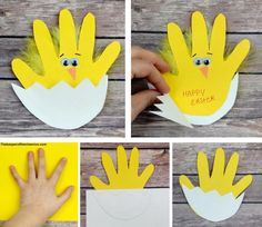 Easter chick handprint card Materials: Yellow and White construction paper or card stock Scissors Wiggle eyes Orange construction paper Glue stick and craft glue Yellow feathers Black pen or… Easter Arts And Crafts, Spring Crafts For Kids, Bunny Crafts, Daycare Crafts, Easter Projects, Easter Crafts For Kids, Preschool Crafts, Children Crafts, Easter Crafts For Preschoolers