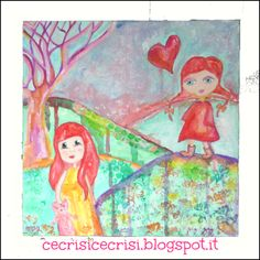 """Mixed Media Painting """"Whimsical Walk"""" on cardboard. I used water colours, pigments, stamps and tempera. Size: 32 x 32 cm {12.5"""" x 12.5""""} $25"""