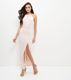 Shell Pink Chain Strap Maxi Dress    New Look