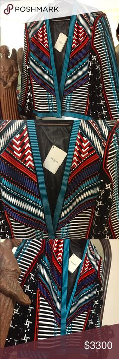Balmain Jacket!!! Beautiful multicolored piece🔥🔥 An amazing Embroidered Velvet jacket with satin lining designed in Paris!! Balmain Jackets & Coats Military & Field