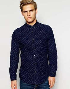 Enlarge Antony Morato Indigo Printed Shirt In Slim Fit - LARGE