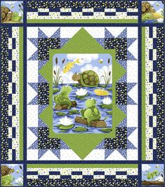 Paul and Sheldon - Water Logged Free Quilt Pattern #freepattern #Frogs #turtle #quilt