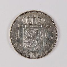 1956 nederland - Zilveren Koninkrijksmunt 1 Gulden, Juliana