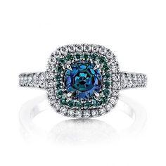 Omi Prive: Alexandrite and Diamond Ring set in platinum
