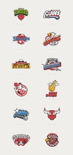 80s Cartoons Meet Basketball Logos... SO GOOOD!