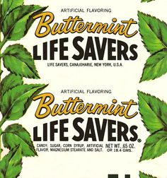 Always remembered what I thought was 'butter mint' lifesavers from the but found these were from the The butter creme mint is what I was probably thinking of -- they came later. Vintage Food Labels, Vintage Packaging, Vintage Candy, Vintage Recipes, Best Memories, Childhood Memories, Apple Acid, 80s Food, Butter Mints