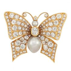 Antique Gold, Diamond and Natural Pearl Butterfly Brooch for Sale at Auction on Mon, 04/15/2013 - 07:00 - Important Jewelry | Doyle Auction House
