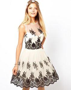 0902d5d116 ASOS sukienka rozkloszowana hafty siateczka 36 S - 5272652684 - oficjalne  archiwum allegro