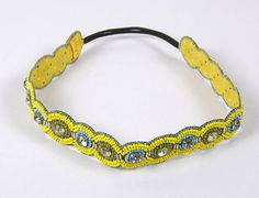 Soft embellished headband with elasticated insert for a very comfortable fit.  Yellow, Green and Blue beads with a round diamante on each section of the headband.  A perfect band for the summer-on the beach or a night out!  Unique and hand crafted. 21 inches in diameter, as is. Elastic inset makes it stretchable.  £18.00 on Etsy. Click on the Etsy link to buy