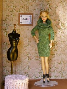 Winter dress 12 inch, Green knit sweater dress and black shoes for Barbie doll, Unique birthday present