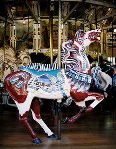"Golden Gate Park Carousel Herschell-Spillman Outside Row Prancer With ""Lolling"" Tongue"