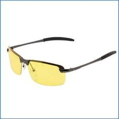 YELLOW MIRROR HALF RIMLESS POLARIZED UV SUNGLASSES FIT OVER GLASSES WRAP DRIVING
