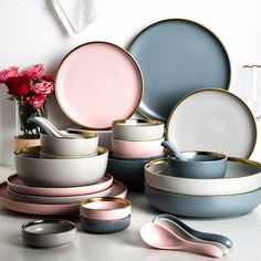 Solid Color Ceramic Gold Inlay Plate Steak Food Plate Nordic Style Tableware Bowl Dinnerware 2020 Dinnerware – Page 4 – Kitchen Mamy Ceramic Tableware, Ceramic Pottery, Kitchenware, Steak Plates, Dessert Dishes, Kitchen Items, Kitchen Plates Set, Dining Plates, Dinnerware Sets