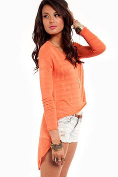 Hi-Low Five Ribbed Top in Orange $27 at www.tobi.com