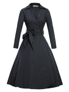 Luouse Women Vintage V-Neck 3/4 Sleeve 50s 60s Rockabilly Pinup Evening Dress: Amazon Fashion