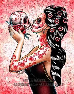 ORIGINAL PAINTING Day of the Dead Sugar Skull Girl by NeverDieArt
