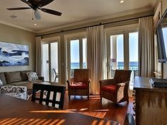 This luxurious beachfront vacation rental is one of the most sought-after homes in Destin's Frangista Beach. Eighteen fortunate guests may be accommodated in this five bedroom hospitable property. This regal residence offers ample room for everyone and has beachfront balconies on all three levels. The views across the sparkling white ribbon of sand and dazzling emerald green waters are sensational. Seaduction has been renovated and furnished with chic, fashionable high-end furnishings with…