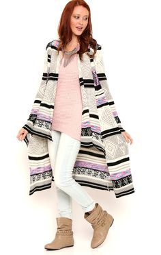 Deb Shops Aztec Long Sleeve Shawl Collar Duster Sweater with Waterfall Front $20.65