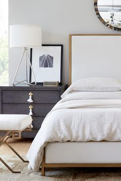 These rainy days have me wanting to curl back into bed! What better way to celebrate a rainy day than look at gorgeous bedrooms? Home Bedroom, Bedroom Wall, Bedroom Decor, Bedroom Ideas, Glam Bedroom, Pretty Bedroom, Bedroom Styles, Beautiful Bedrooms, Shabby Chic Furniture