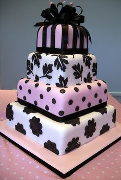 Square Pink And Black Polka Dot Cake