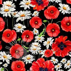 Úplet Marguerite and Poppy digital print Stylish Sarees, Fabric Patterns, Poppies, Digital Prints, Plants, Fingerprints, Planters, Plant, Poppy