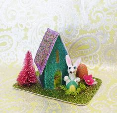 Vintage Easter Putz House Easter Bunny Easter Egg VTG Inspired MANY LISTED