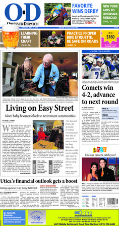 The front page for Sunday, May 3, 2015: Living on Easy Street