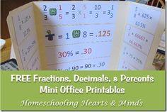 FREE Fractions, Decimals, & Percents Mini Office Printables from http://homeschoolheartandmind.blogspot.com