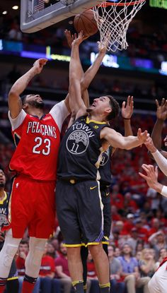d84304453ee Golden State Warriors' Klay Thompson (11) fights for a rebound against New  Orleans