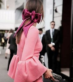 The Fashion Magpie // Pink dramatic sleeves + bow.