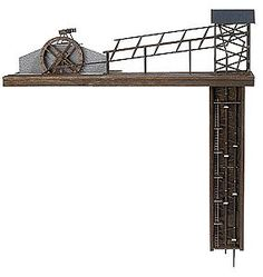 Busch Gmbh Mine Elevator Kit w/Real Wood -- HO Scale Model Railroad Building Accessory -- #1479