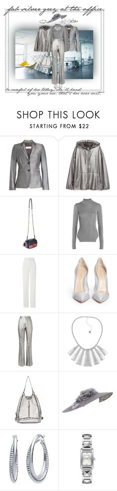 """silver grey at the office"" by caroline-buster-brown ❤ liked on Polyvore featuring MaxMara, H&M, Fendi, Thierry Mugler, Amanda Wakeley, Gianvito Rossi, Racil, The Sak, Vivien Sheriff and Nine West"