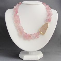 Pink Chalcedony and Large Druzy Necklace