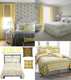 Yellow, Gray Bedroom By Laurencek Yellow Curtains